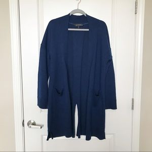 ST JOHN • Navy Long Open Cardigan with Back Slit